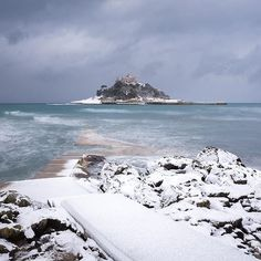 Ice on the causeway beautiful St Michaels Mount in Winter, Winter Beach, Beach Day, Winter Holiday Destinations, St Micheal, Penzance Cornwall, St Michael's Mount, Devon And Cornwall, Winter Scenes, Beautiful Beaches