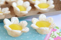 Mini Lemon Flower Tarts These two-ingredient mini lemon tarts are super simple and make a stunning presentation for any Spring gathering. We're loving them for Easter brunch but they would even be great for a baby or wedding shower too.