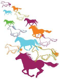 Horse Illustrations by Vusi Khosa, via Behance.  Nice shapes/movement