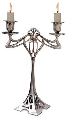 Candeliere 2 fiamme (senza fiori) - Eiffel cm 30 (Peltro / Britannia Metal) - collezione: Eiffel. Cosi Tabellini.