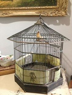 Antique Kapff Germany Real Bird Cage with Chinese Decorative Panels | eBay
