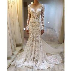 Unique Long Sleeves Gorgeous Lace Long Bridal Wedding Dresses, PM0620