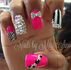 Pink bling nails def how I'm doing mine next! Pink Bling Nails, Fancy Nails, Glitter Nails, Sparkly Nails, Fabulous Nails, Gorgeous Nails, Pretty Nails, Cute Nail Art Designs, Manicure E Pedicure