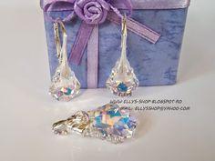 Ellys Shop: Set argint si cristale swarovski baroque aurore bo... Baroque, Swarovski, Handmade, Shopping, Fimo, Northen Lights, Hand Made, Handarbeit