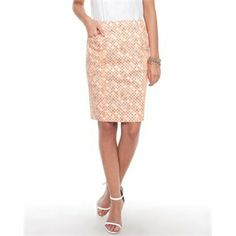 Ben Sherman Mosaic Print Pencil Skirt Pencil skirts Available in Sherbert - Fashion Brand Sale