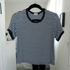 NWOT Navy Blue and Light Blue Striped Nadine never worn Brandy Melville Tops Tees - Short Sleeve
