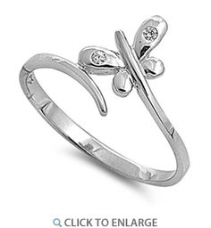 Sterling Silver Small Butterfly CZ Ring