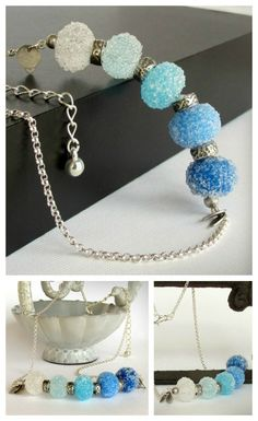 Each bead is highly textured with tiny bits of clear glass on the surface ... like little sugar or ice crystals.