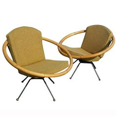 Swivel Rattan Hoop Chairs in the manner of Paul Frankl