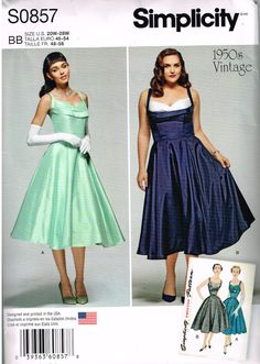 Simplicity 0857/1155, Misses' Vintage 1950s Dress, Sewing Pattern, Size 20W, 22W, 24W, 26W, 28W, Plus Size, Special Occasion, Prom, Evening by OhSewWorthIt on Etsy