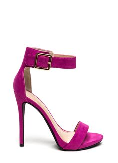 Less is definitely more. Especially with these single strap stiletto heels. These magenta heels will brighten up any outfit.