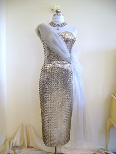 BOMBSHELL 1950s Couture Silver Sequin Strapless Hip Drape Wiggle Dress