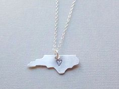 Handstamped State Necklace Sterling Silver Chain NORTH CAROLINA, Custom