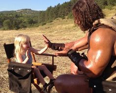 Pin for Later: 21 Times Dwayne Johnson Proved His Heart Was Actually Very Unrock-Like  In 2013, The Rock took a break from filming Hercules to play a game of Patty Cake with one of the producer's daughters.