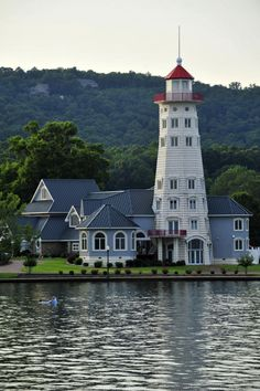 Lake Guntersville lighthouse, now for sale, monument to man's life work… Lighthouse Lighting, Lighthouse Pictures, Lighthouse Art, Beacon Of Light, Interesting Buildings, Le Moulin, Beautiful Landscapes, Beautiful Places, Scenery
