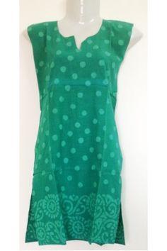 #CottonKurti - Polka Dot Printed #Sea #Green