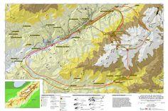 Mapa de rutas y acceso aéreo con helicóptero en el Parque Nacional Sierra Nevada, estado Mérida, Venezuela, 2014