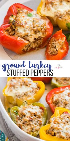 turkey recipes These make ahead Turkey Stuffed Peppers are a healthy, easy dinner recipe that the family will love! Full of ground turkey, brown rice, salsa, cheese and extra veggies! Perfect for your weekend meal prep and the filling is freezer friendly. Healthy Turkey Recipes, Healthy Ground Turkey, Vegetarian Recipes Dinner, Easy Dinner Recipes, Crockpot Ground Turkey Recipes, Ground Turkey Dinners, Ground Turkey Meal Prep, Xmas Recipes, Chicken Recipes