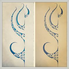 Polynesian tattoo design. With a little blue!