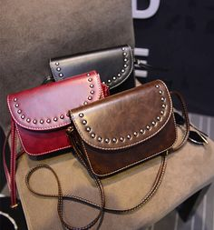 vintage rivet mini leather handbags hotsale ladies party purse wedding clutches women small crossbody shoulder messenger bags-in Crossbody Bags from Luggage & Bags on Aliexpress.com US $11.90