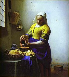 Johannes Vermeer The Milkmaid, , Rijksmuseum, Amsterdam. Read more about the symbolism and interpretation of The Milkmaid by Johannes Vermeer. Johannes Vermeer, The Milkmaid Vermeer, Vermeer Paintings, Oil Paintings, Famous Art Paintings, Rembrandt Paintings, Popular Paintings, Tableaux Vivants, Art History