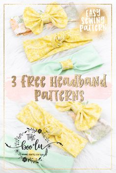 diy headband 3 Free Headband Patterns for baby, toddler, and child. Free bow, knot, and simple headband. Easy and fast diy Christmas or baby shower gift idea. Sewing Headbands, Diy Baby Headbands, Fabric Headbands, Diy Hair Bows, Baby Bows, Flower Headbands, Toddler Headbands, Fabric Bows, Diy Bow