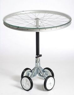 bike wheel table with wheels