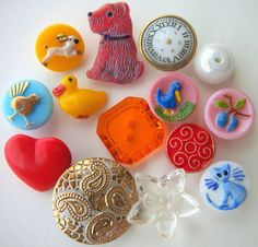 Collectable, vintage buttons in playful colours and shapes.