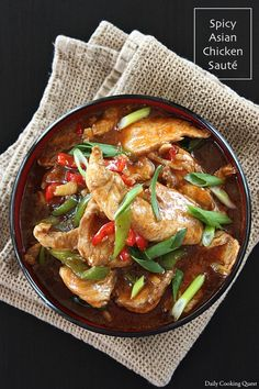 Spicy Asian chicken sauté, with Korean gochujang and Chinese five spice. Easy Korean Recipes, Asian Recipes, Gourmet Recipes, Ethnic Recipes, Asian Chicken, Asian Cooking, Daily Meals, International Recipes, Spicy