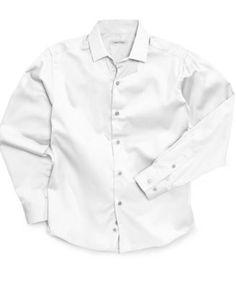 Calvin Klein Boys' Long-Sleeved White Sateen Shirt