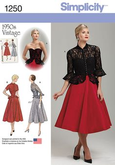 Simplicity Creative Group - Misses' Vintage 1950's One Piece Dress and Jacket