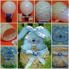 1- Encher balão com uma bombinha (mais higiênico) 2- Contorne o balão com barbante colorido e cola (passe a cola em toda a extensão do barbante). 3- Espere secar e estoure o balão.