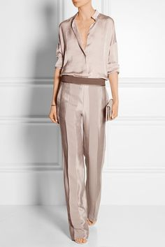 Haider Ackermann  Paneled silk wide-leq pants