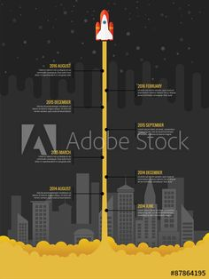 Infographic rocket fly at night with city in the background - Buy this stock vector and explore similar vectors at Adobe Stock Info Board, Apollo Rocket, Timeline Infographic, Layout, Graphic Design, Stock Photos, Explore, Night, Infographic