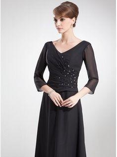 A-Line/Princess V-neck Floor-Length Chiffon Mother of the Bride Dress With Ruffle Beading (008006180) - JJsHouse