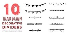 This week's freebie are some of my favorite vector hand drawn dividers that I plan on using for something, but for now, I'm giving all 10 of them to you!