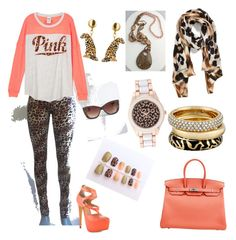 PINK by mag11rich on Polyvore featuring polyvore, fashion, style, Penny Sue, Hermès, Michael Kors, Geneva, Nach Bijoux, Collection XIIX, Torrid and clothing