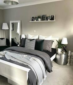 Is there anything more relaxing at the end of a night that climbing in to a cosy bed full of pillows, cushions and throws? Grey Bedroom Decor, Small Room Bedroom, Room Ideas Bedroom, Bedroom Inspo, Modern Bedroom, Small Rooms, Couple Bedroom, Trendy Bedroom, Bedroom Inspiration