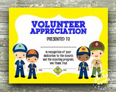 "Cub Scout Pack Volunteer Appreciation Award - 8.5""x11"" Blank Printable  - Instant Download"