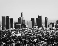 Los Angeles downtown cityscape skyline! (B&W)
