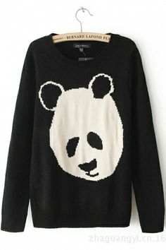 Black Panda Pattern Sweater. I would wear with camo print skinny jeans. Now where to find those...