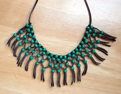 1970s Hippie Macrame Necklace Green Beads & от BlueberrySkyVintage, $11.00