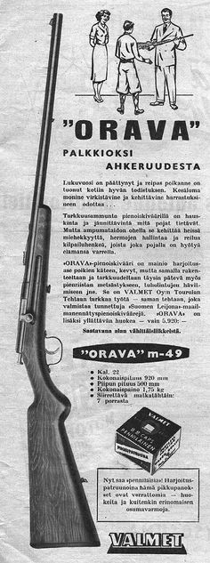 Valmetin pienoiskiväärin mainos vuodelta 1952 Good Old Times, Old Ads, Old Pictures, Motorhome, Good To Know, Weapons, Retro Vintage, Nostalgia, Old Things