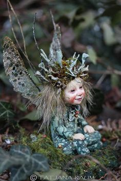 Handmade sculpture miniature fairy Elfe fairy doll by chopoli Pixie, Magical Creatures, Fantasy Creatures, Fairy Figurines, Paperclay, Fairy Art, Fairy Dolls, Drawing, Faeries