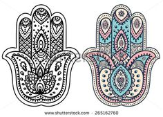 Vector Indian hand drawn hamsa with ethnic ornaments - stock vector