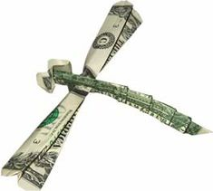 by the Dollar Artist. Dragonfly origami / made from a dollar bill