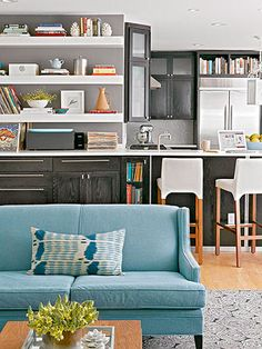 Consider smaller pieces: Furniture doesn't have to be oversize to serve a purpose. Large pieces can quickly overtake a space, so don't ignore smaller settees, slimmer console tables, and petite end tables as contenders for your rooms. A bulky sofa can often go only one place in a room, but a smaller version can be flexible enough to fit multiple places. http://www.bhg.com/decorating/lessons/expert-advice/furniture-arranging-mistakes-and-how-to-fix-them/#page=10
