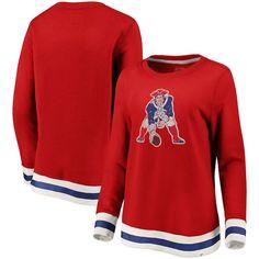 b3929490 New England Patriots NFL Pro Line by Fanatics Branded Women's True Classics  Retro Stripe Pullover Sweatshirt – Red/White