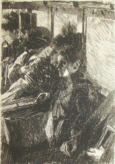 "Anders Zorn ""En Omnibus"" Fine Process Reproduciton Print of Orginal Etching"
