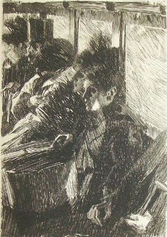 "Anders Zorn ""En Omnibus"" Fine Process Reproduciton Print of Orginal Etching"